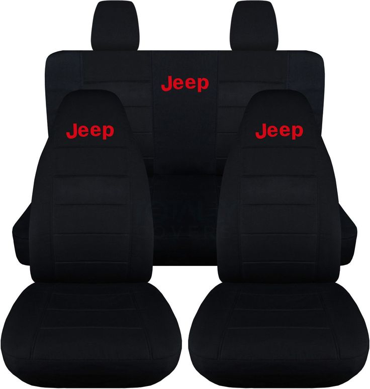 Jeep Wrangler JK (2011 to 2015) Black Seat Covers with Jeep: Black with Red - Full Set (14 Colors Available)