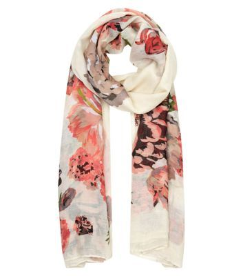 Cream Watercolour Floral Oversized Scarf