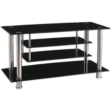 Acme Marabel TV Stand for TVs up to 46 inch, Tempered Black Glass
