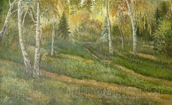 Осенний лес холст на двп,