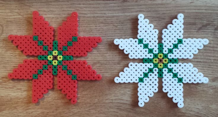 Week 28, Day 192, Christmas Flower.  365 Day Perler Bead Challenge.