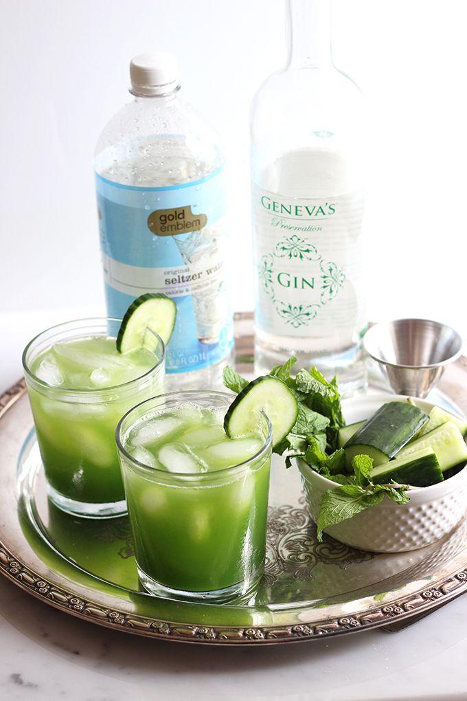 Skinny Cucumber Mint Cocktail | Dietitian Debbie Dishes