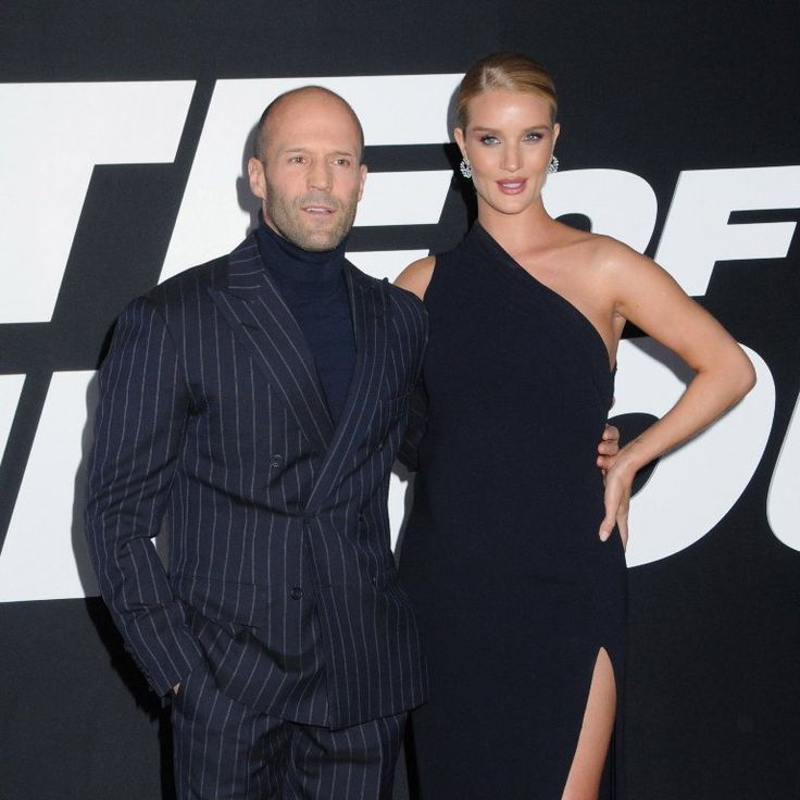"Jason Statham and his girlfriend Rosie Huntington-Whiteley at the premiere of highly anticipated film ""The Fate of the Furious"" movie, held at Radio City Music Hall in New York City. #celebritytsyle #redcarpet #fateofthefurious #fabfashionfix #celebrity #jasonstatham #rosiehuntingtonwhiteley"
