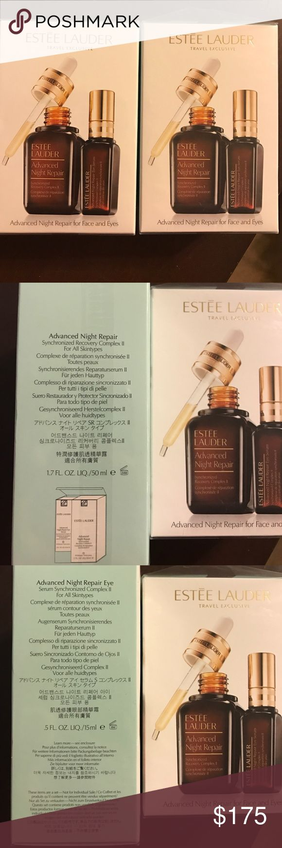 Estee Lauder Advanced Night Repair Two boxes of Advanced Night Repair each including one bottle of 1.7 oz (50ml) Advanced Night Repair and .5 oz (15ml) Advanced Night Repair Eye.  Brand new with the plastic still on.  Bought these both at an Estee Lauder save and next day got hit with a $500 car bill #jeepissues so need to pay my car bill.  YOU ARE BUYING BOTH BOXES.  Retail price is about $160 each box.  Make a reasonable offer. Estee Lauder Makeup