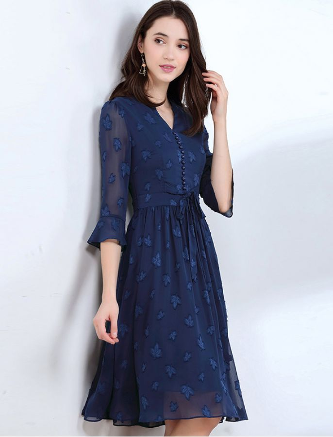 Leaf Jacquard V Neck Retro Midi Dress 1940s Inspired