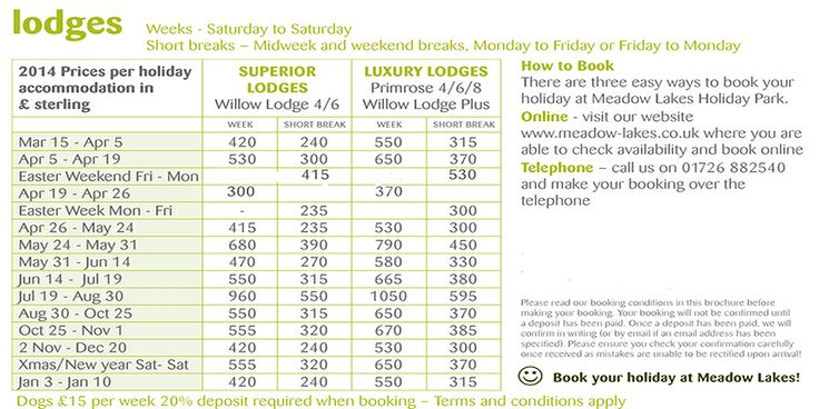 rental lodge prices at Meadow Lakes