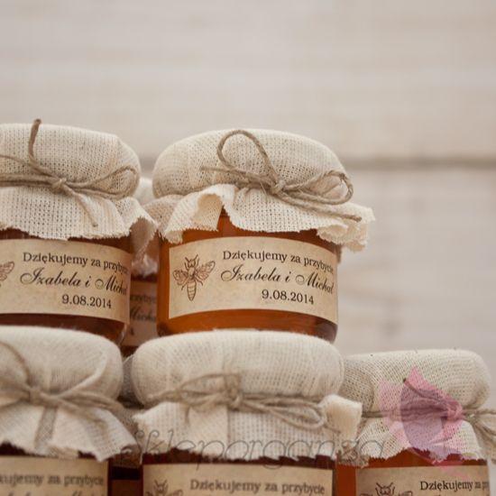 miód w ozdobnym słoiczku upominek podziękowanie dla gości weselnych…