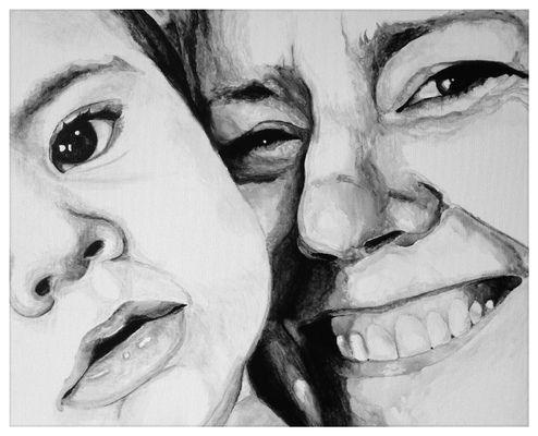 'Jen & Hughie' in black & white