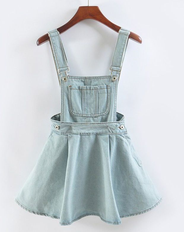 Singel Pocket Suspender Denim Skater Skirt