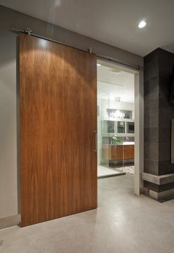 Modern slider for the closets. would word with any door but you should be able to put a pocket door in pretty easy if your taking out all of the mirror.   The Wave House - modern - bathroom - vancouver - kbcdevelopments