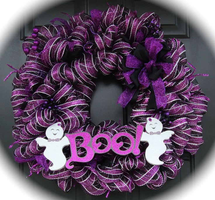 Ghostly Purple Halloween Wreath by SunnyRoseHouse on Etsy, $84.58