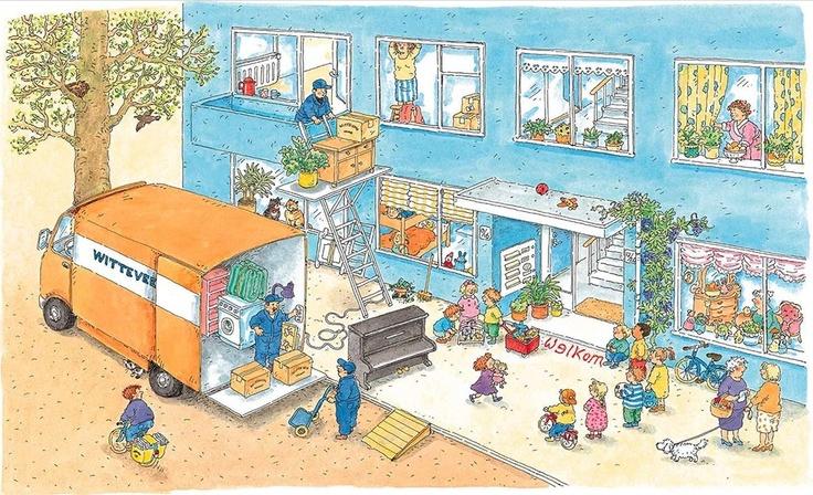 Praatplaat Bas - Verhuizen  (Getekend door Dagmar Stam)