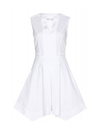 """      This pure white cotton Proenza Schouler dress is crafted with origami-like precision. The pointed hem lends a contrasting edge to the soft fit-and-flare silhouette. Team with sleek, strappy sandals and your go-to everyday tote."""