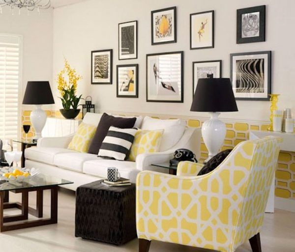 Modern Living Room With Yellow Accents Monochrome Living Room Living Room Color Schemes Living Room Grey
