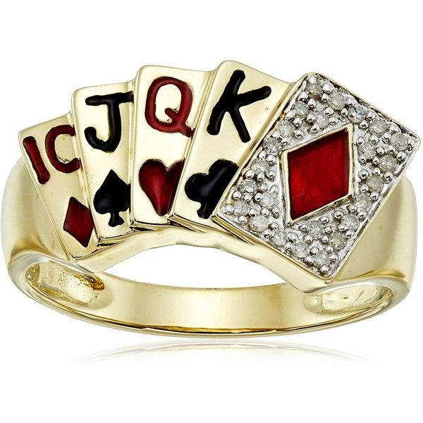 Men's 10k Yellow Gold Diamond Poker Ring (1/10 cttw, I-J Color, I2-I3... ($283) ❤ liked on Polyvore featuring men's fashion, men's jewelry, men's rings, mens gold rings, mens yellow gold diamond rings, mens rings, mens diamond rings and mens watches jewelry