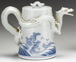 Porcelain; Japanese, Hirado Ware, Teapot, Blue & White, Dragon Head Spout, 8 inch.