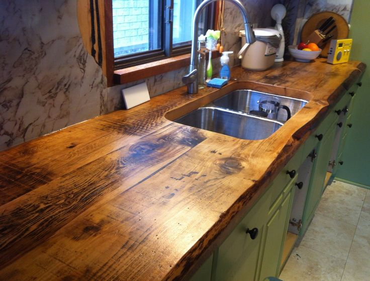 awesome live edge kitchen counter built with 2 inch thick hemlock floor boards by barnboardstore.com