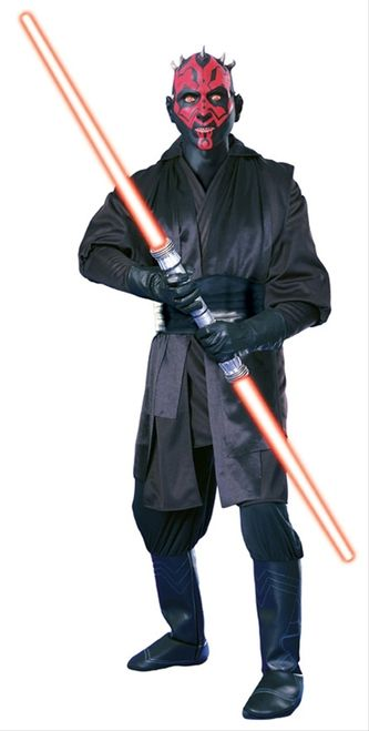 Deluxe Star Wars Darth Maul Costume - This is a licensed deluxe Darth Maul costume from Star Wars. The costume is a pair of nylon pants with attached pleather boot covers. There is elastic to go under the shoe. The pants have an elastic waist and an attached front only flap. The top is a long hooded tunic with long sleeves and is open in the front. Attached at the shoulders are long black sashes. To complete the costume is a Darth Maul mask. #starwars #yyc #costume