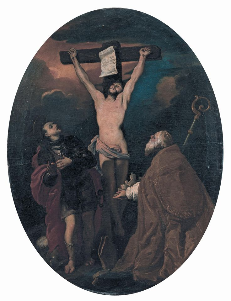 "MAR - Ravenna Art Museum - ""Crucifixion with the Saints Vitalis and Apollinaris"", Arcangelo Resani, 1701, oil on canvas, oval [ #Ravenna #myRavenna]"