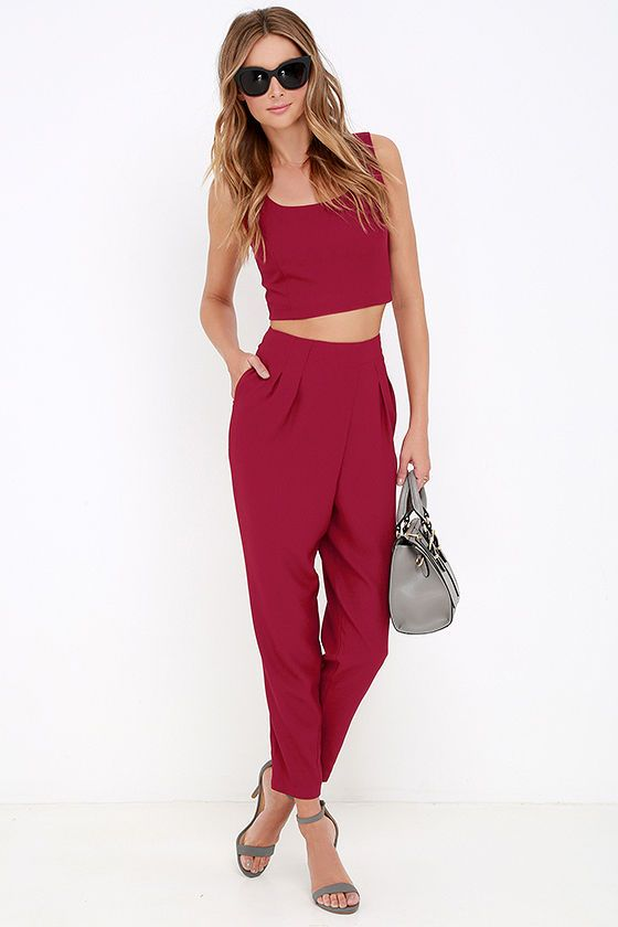 Paired Off Wine Red Two-Piece Set at Lulus.com!