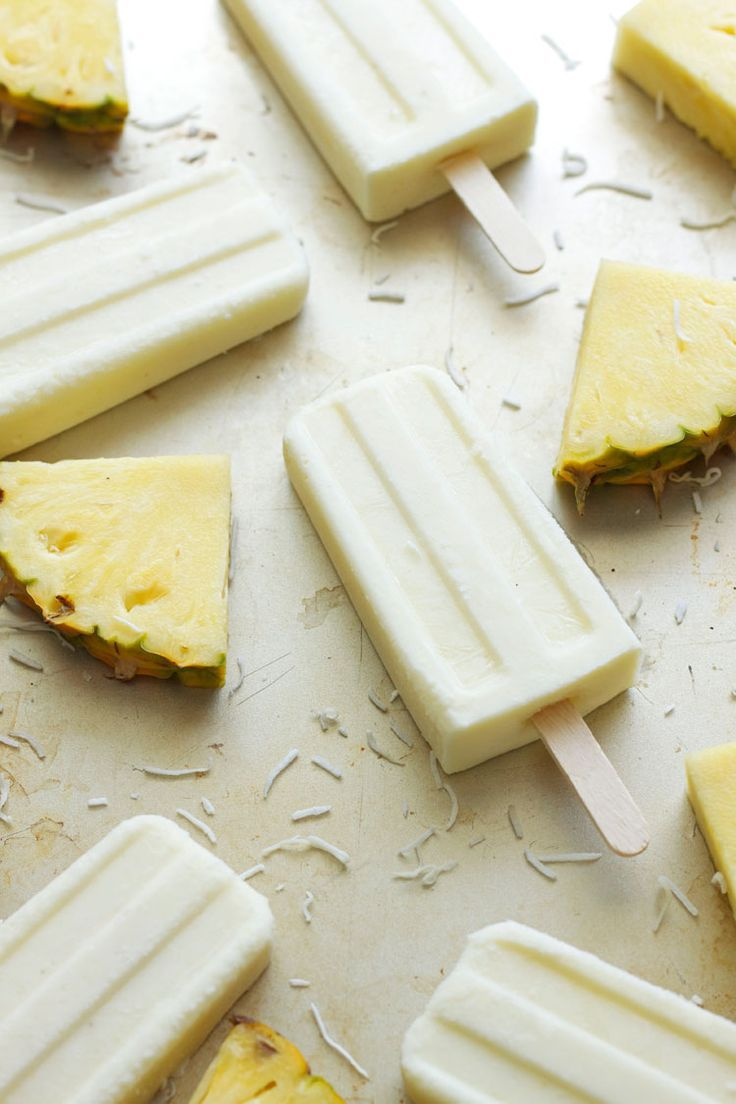 Coconut Pineapple Yogurt Pops | Bring the tropics to your home this summer ! Cool off with these healthy sweet treats!