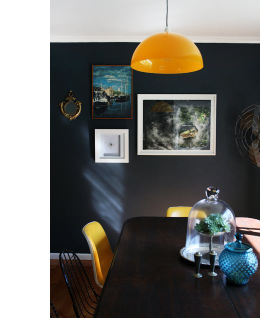 Yellow and black!  The Kyneton home of Tara Pearce, via thedesignfiles.net