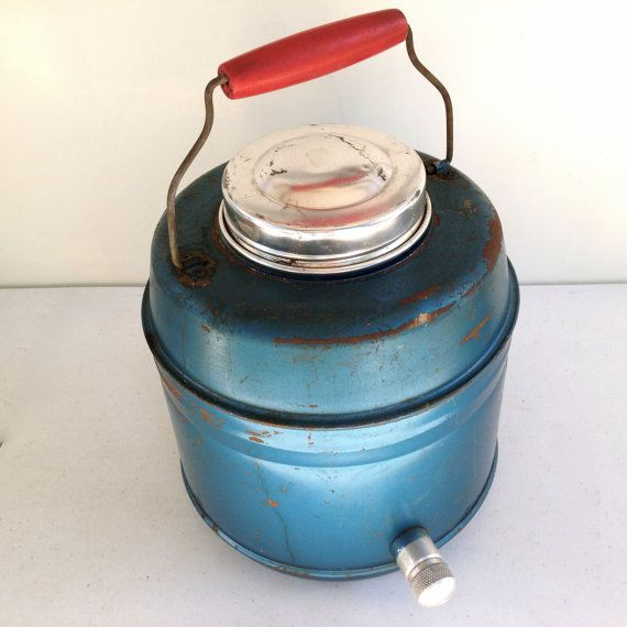 Retro Industrial - Metal Ceramic Lined Thermos Cooler With Spout - Blue