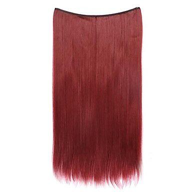 cor peruca vermelha 55 centímetros sintética fio de alta temperatura reta pedaço de cabelo 118 - BRL R$ 9,30