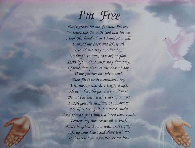 PERSONALIZED MEMORIAL POEM DON'T GRIEVE FOR ME , FOR NOW I ...