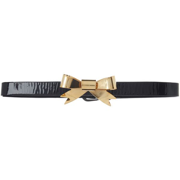 Rodarte Black Skinny Patent Leather Waist Belt with Small Gold Bow... ($485) ❤ liked on Polyvore featuring accessories, belts, black, bow belts, gold belt, rodarte and gold bow belt