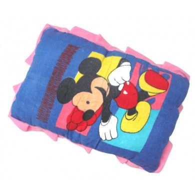 """Mickey Mouse Cartoon Design Cushion Blue Soft Kid's Bed Pillow India 23""""X16"""""""