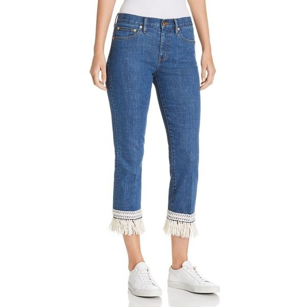 Tory Burch Connor Fringe-Trimmed Straight Crop Jeans in Stonewash (11,795 DOP) ❤ liked on Polyvore featuring jeans, stonewash, tory burch jeans, blue stone washed jeans, stonewash jeans, fringe jeans and straight-leg jeans