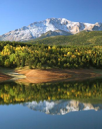 Pikes Peak Reflection in Crystal Creek Reservoir. Enough said.