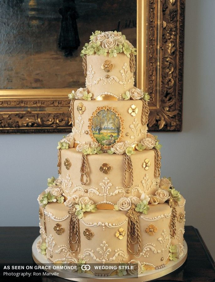 gold gilded victorian ivory wedding cake idea