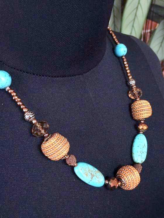 Handmade Beaded Necklace 53 cm, Bluey Green, Copper, Silver
