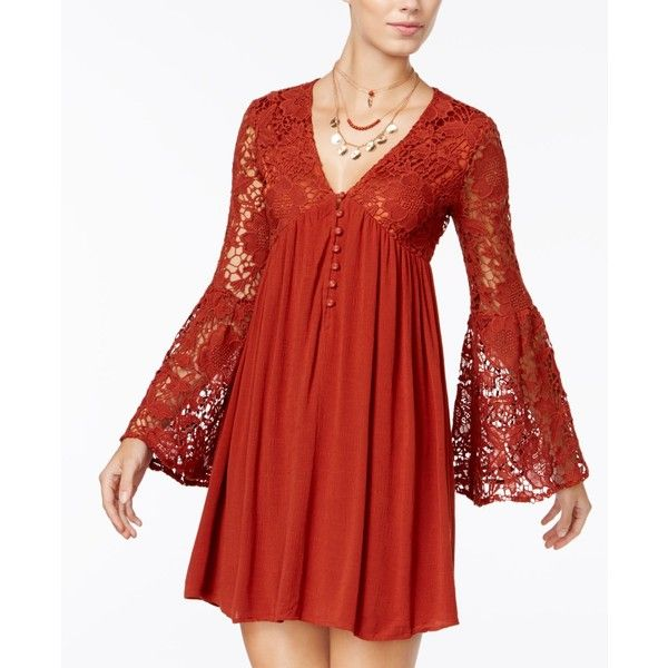 American Rag Bell-Sleeve Babydoll Dress, featuring polyvore, women's fashion, clothing, dresses, burnt henna, red bell sleeve dress, boho dresses, bohemian style dresses, babydoll dress and red dress