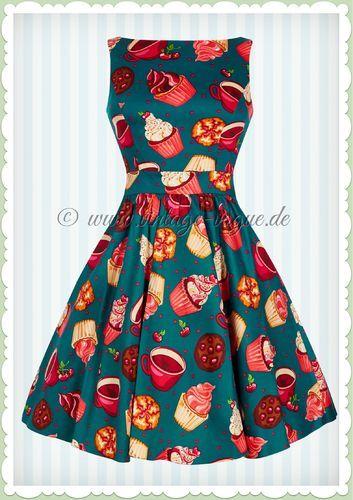 Lady Vintage 40er Jahre Vintage Retro Kleid - Cupcake - Petrol Pink  Vintage A-Linie Kleid mit Tee & Cupcake Muster in Petrol Türkis Aus Baumwoll Jersey - Hergestellt in Großbritannien