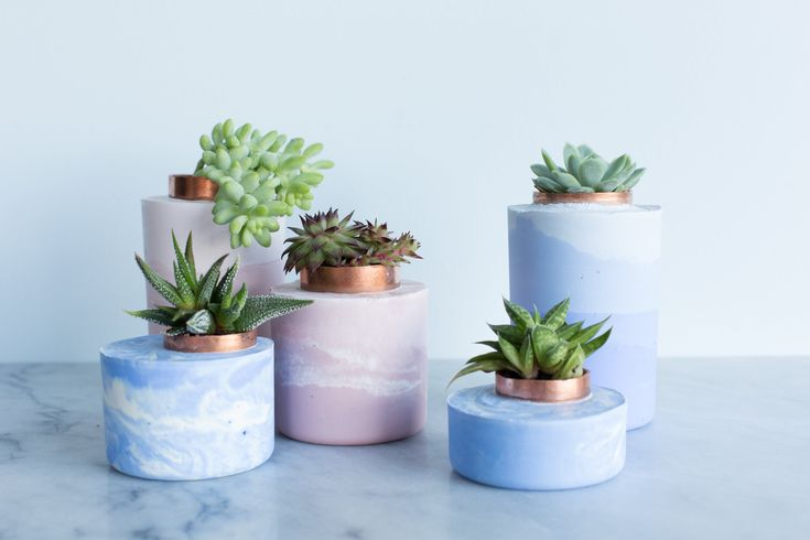 diy marbled and ombre concrete planters.