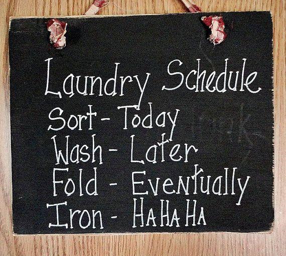 Wasserij kamer teken, schema, wassen, vouwen, ijzer, grappig humor huis decor