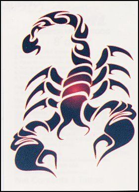 "Tribal Scorpian Temporaray Tattoo by Tattoo Fun. $4.95. This 2 1/2"" X 3"" temporary tattoo of a tribal inspired scorpian is great. The design is great and the colors are bold. This would look great on the shoulder or you could even try placing it on the inside of yout forarm to make it a more unique."