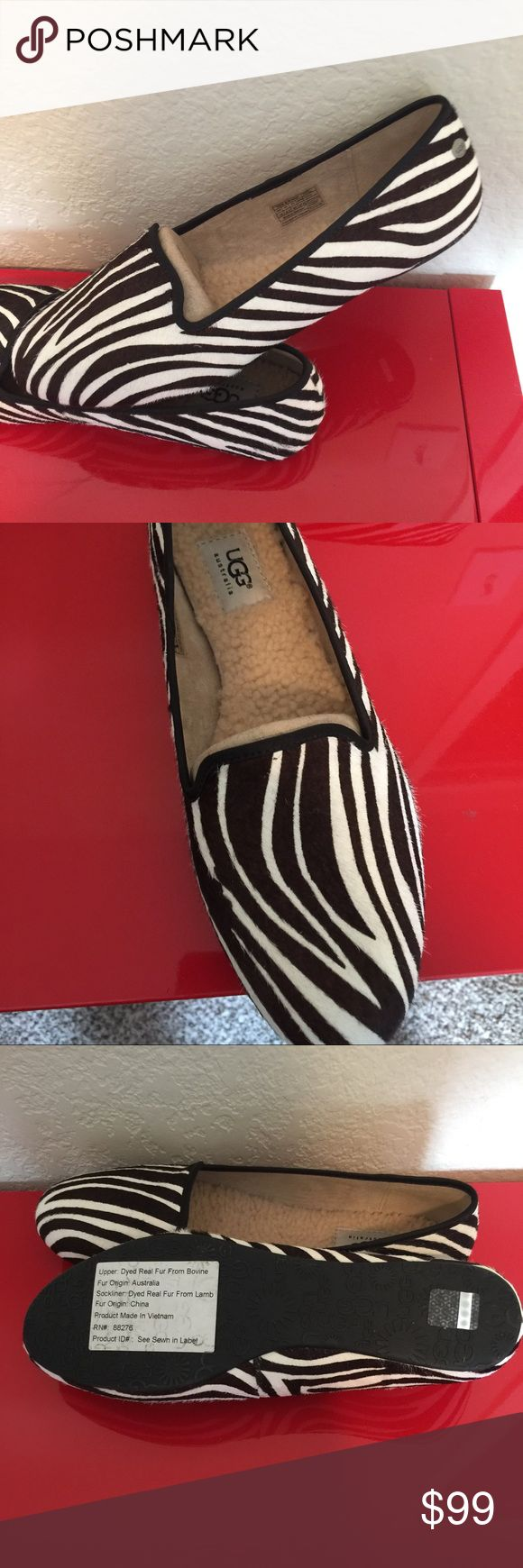 NWT UGG real fur zebra shoes 10 Real fur upper from Australia  Sherpa fur lined soles Size 10  Compare to the Jonette Snake shoe at $140.  True to size 9.5-10 comfortable UGG Shoes Flats & Loafers