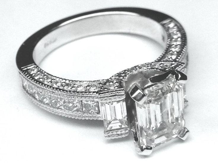 Vintage Emerald Cut Diamond Engagement Ring 1 tcw.