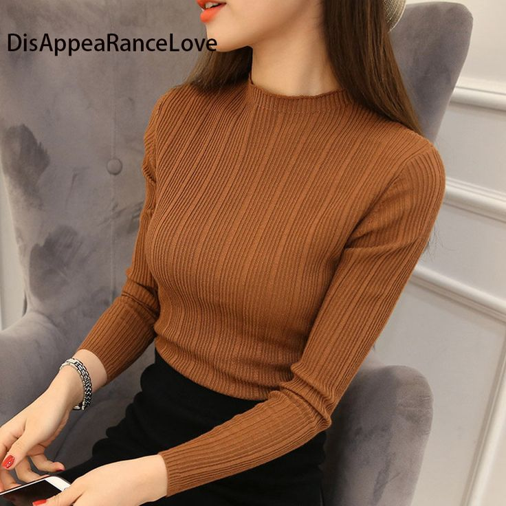 2017 Free Shipping Women Stretch Knit Undershirt Retro Turtleneck Solid Sweater Knitted Wear Knitting Slim Pullovers