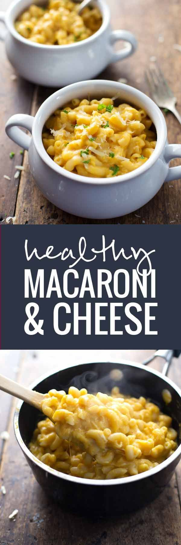 Healthy Mac and Cheese - A classic dish made with butternut squash for a healthy twist! Full of cheese and flavor | pinchofyum.com