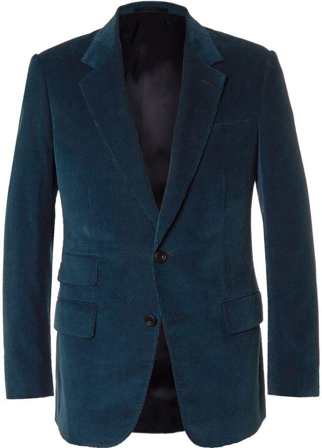 Kingsman Blue Slim-Fit Cotton and Cashmere-Blend Corduroy Blazer