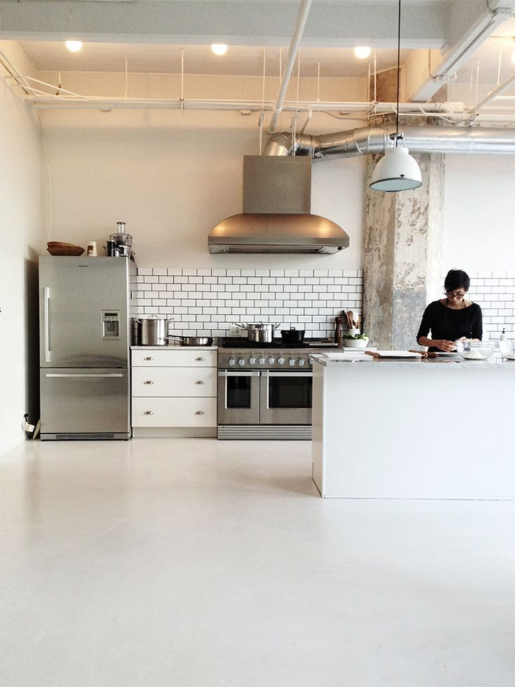 commercial kitchen like the simple materials subway tile