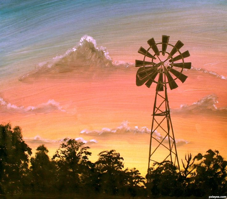 Farm Windmill at Sunrise picture, by libertysgems for: windmills ...