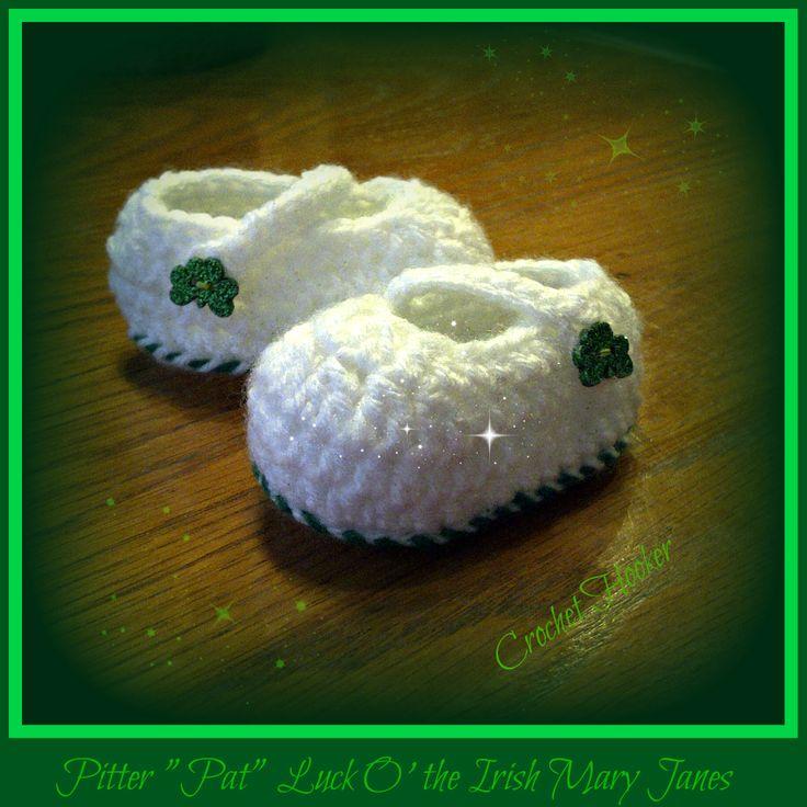 St. Patricks Day Baby Mary Janes | Crochet stuff | Pinterest | Patrick ...
