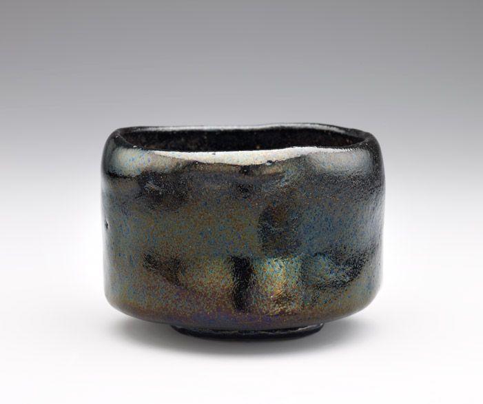 Tea bowl  19th century      Edo period or Meiji era     Raku-type earthenware with Black Raku glaze  H: 7.8 W: 11.2 cm   Kyoto, Japan