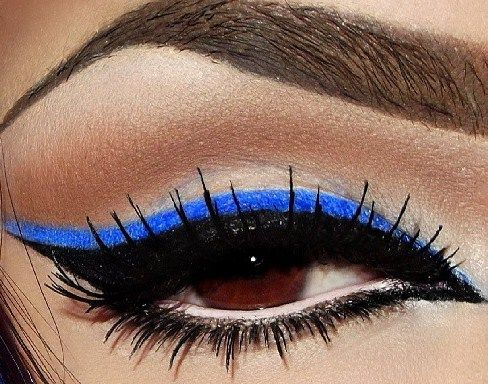 blue eye makeup for dark brown eyes not so exaggerated a little smoother on.